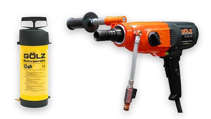 Lot carotteuse portable FB20P, 2 couronnes Ø maxi 132 mm et 1 pulvérisateur 10 litres