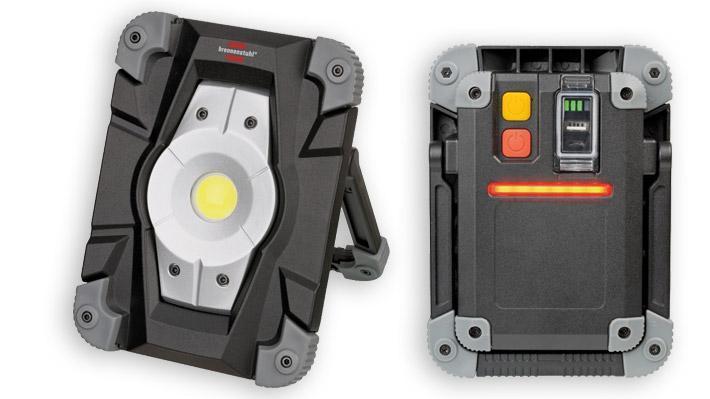 Projecteur LED rechargeable, avec un set de fixation magnétique et un feu de signalisation LED rouge, 2000 lumens